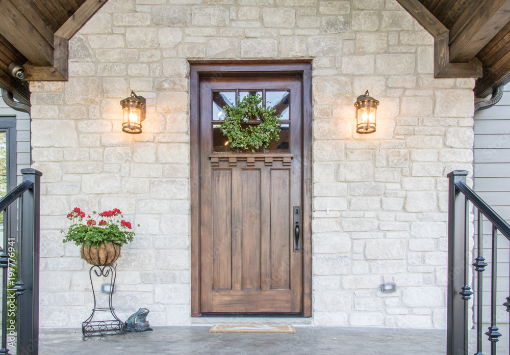 Fototapety, obrazy: Beautifully symmetric and inviting front exterior door