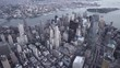 New York City high angle aerial view of TriBeCa and Lower Manhattan Financial District