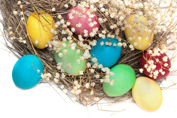 Fototapeta na wymiar Colorful Easter eggs and a nest isolated on white background
