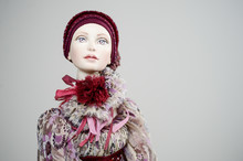 Porcelain Clay Girl Dress Red Corset Victorian