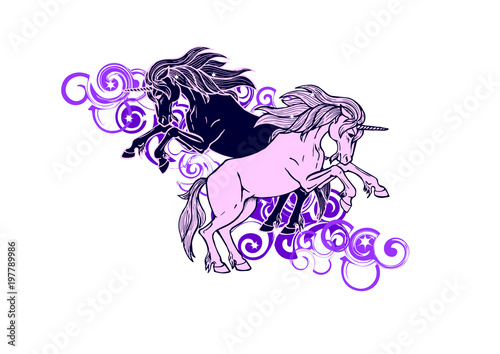 Fotobehang Draw The meeting of two unicorns among the purple clouds and stars , vector illustration