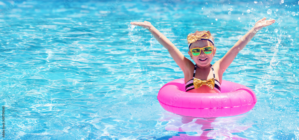 Fototapety, obrazy: Happy Child Swimming In The Pool