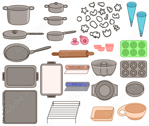 Valokuvatapetti Set icons of different kinds of cookware vector illustration sketch
