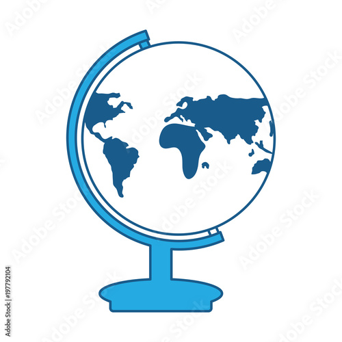 Fotografia  earth planet geography tool icon over white background, blue shading design