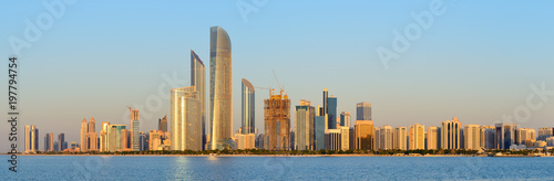 Abu Dhabi cityline at sunset