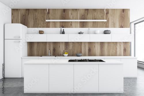 Cadres-photo bureau Cuisine Wooden kitchen, white counters, bar