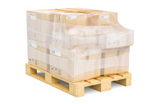 Wooden Pallet With Parcels Wrapped In The Stretch Film, 3D Rendering