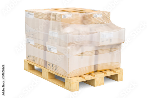 Fotografia Wooden pallet with parcels wrapped in the stretch film, 3D rendering