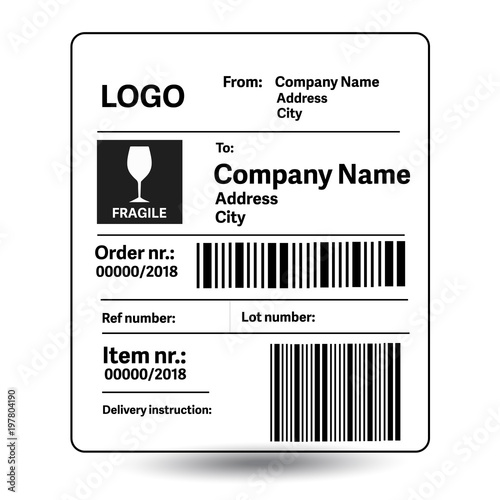 Fotografia  Shipping label template