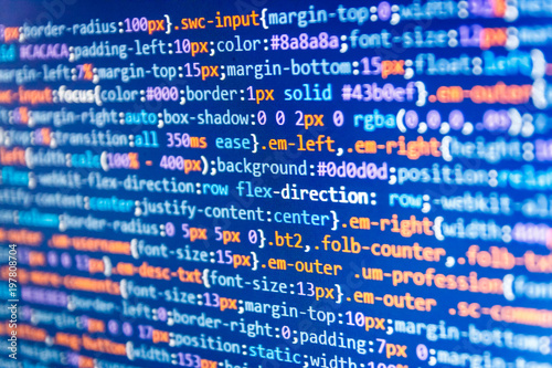 IT coding on monitor screen  JavaScript code in text editor  Website