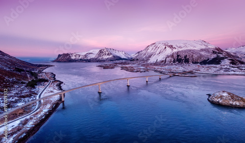 Photo sur Toile Europe du Nord Bridge and high mountains during sunset. Natural landscape in the Norway