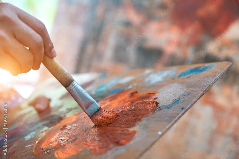 Fototapety, obrazy: Closeup of brush and palette.