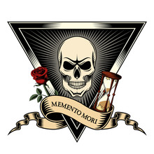 """Memento Mori """"Be Mindful Of Death"""". Skull In Triangle, Rose And Hourglass Print."""