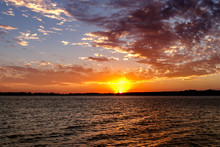 Beautiful Bright Sunset Over A Lake In Oklahoma.
