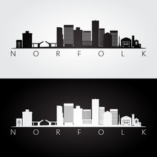 Norfolk USA Skyline And Landmarks Silhouette, Black And White Design, Vector Illustration.