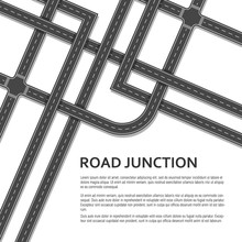 Complex Road Junction With Place For Text On White Background. Top View.