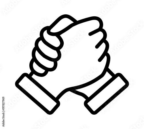 Soul brother handshake, thumb clasp handshake or homie handshake line art vector Wallpaper Mural