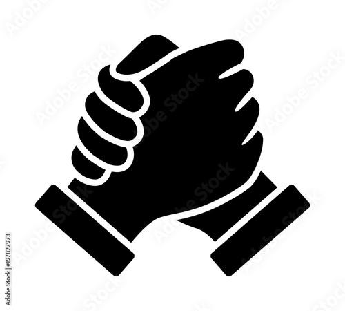 Soul brother handshake, thumb clasp handshake or homie handshake flat vector ico Wallpaper Mural