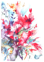 Watercolor Bouquet Of Flowers,...