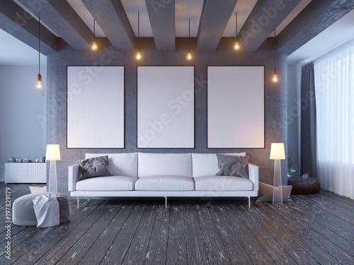 mock up poster with vintage pastel hipster minimalism loft interior ...