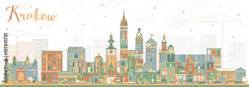 Fototapeta Krakow Poland City Skyline with Color Buildings. obraz