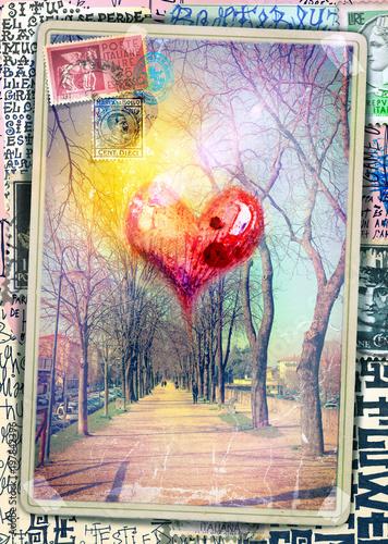 Imagination Cartolina vintage con cuore e viale alberato