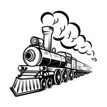 Retro Train Illustration Isolated On White Background. Design Element For Logo, Label, Emblem, Sign.