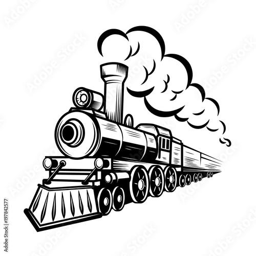 Fotografie, Obraz Retro train illustration isolated on white background