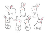 Fototapeta Fototapety na ścianę do pokoju dziecięcego - Draw vector illustration set character design of cute rabbit Doodle style