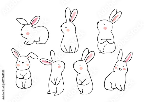 Foto Draw vector illustration set character design of cute rabbit Doodle style