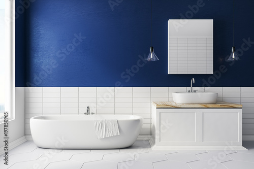 Foto  Blue bathroom with copy space