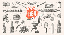 Barbeque Related Things Hand D...
