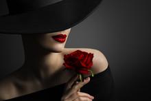 Woman Red Lips And Rose Flower...