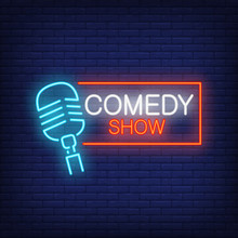 Comedy Show Neon Sign. Microphone With Rectangular Frame On Brick Wall Background. Night Bright Advertisement. Vector Illustration In Neon Style For Stand Up Show