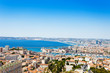 Panoramic view of Marseille city and its harbor