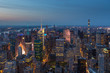 Aerial view of Manhattan at night, New York.