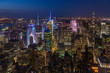Aerial view of Manhattan at night, New York.