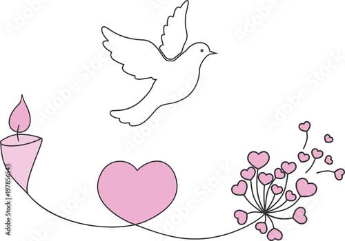 Foto  Une colombe blanche avec une bougie, un coeur et une fleur pour illustrer la com