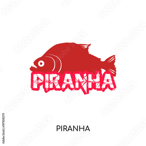 Valokuva  piranha logo isolated on white background for your web, mobile and app design