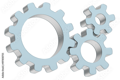 Fototapety, obrazy: Three 3d gears made of metal and glass