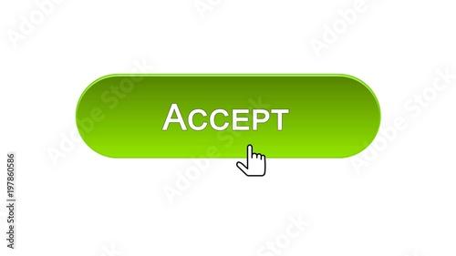 Fotografía  Accept web interface button clicked with mouse cursor, green color design
