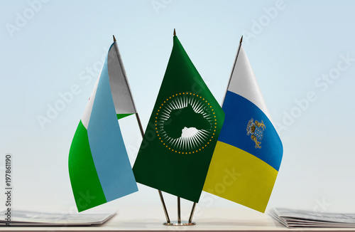 Foto op Plexiglas Canarische Eilanden Flags of Djibouti African Union and Canary Islands