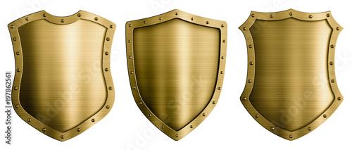 Obraz na plátně Gold or bronze metal medieval shields 3d illustration