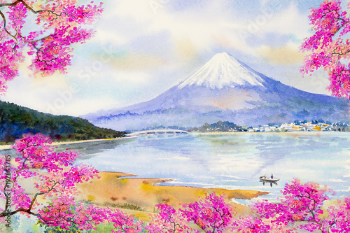 Foto  Mount Fuji and sakura cherry blossom at Lake.