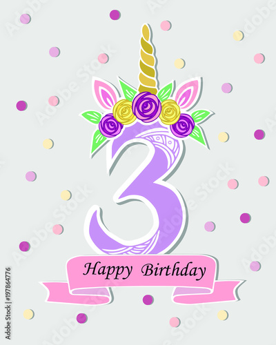 Vector illustration with number three unicorn horn ears and flower vector illustration with number three unicorn horn ears and flower wreath template for maxwellsz