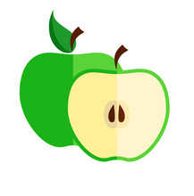 Two Apples: One Whole And Half With Seeds Inside. Flat Vector Illustration