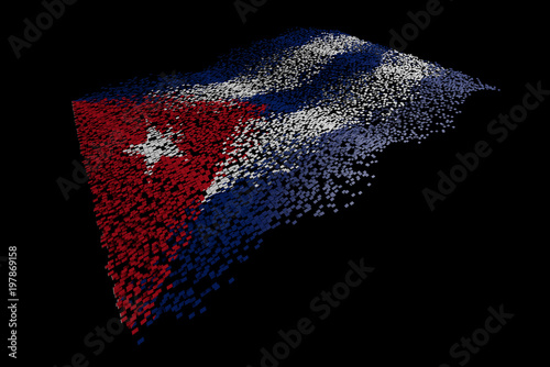 Photo  Tech particles composed of national flags, floating flags
