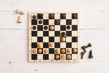 Top View On Wooden Chess Board...