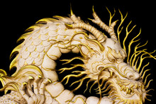 Gold Dragon Stature With Black Background