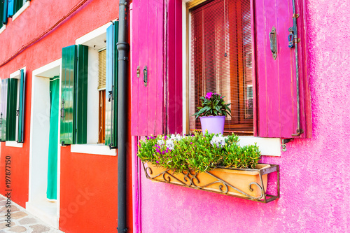 Foto op Plexiglas Roze Window with pink shutters and flowers